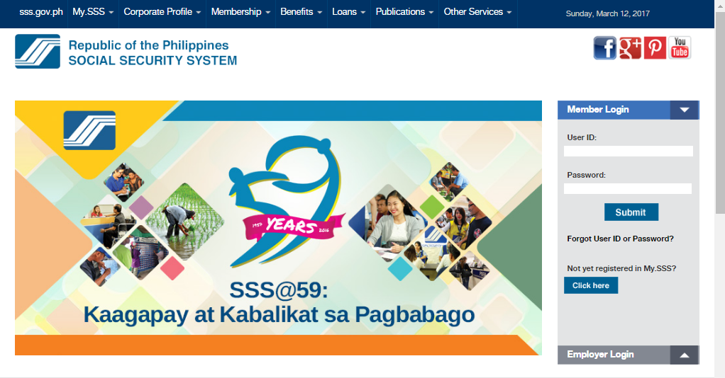 SSS Log in page